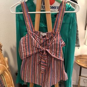 Madewell Tie-Front Cami Top in Rainbow Stripe